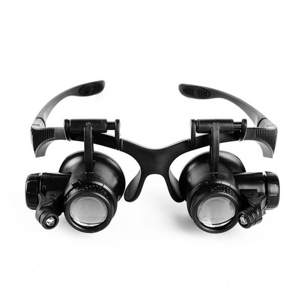 1x Tipo de gafas Lupa 10X 15X 20X 25X Joyería ocular Reparación de relojes Gafas de lupa con 2 luces LED Nuevo Microscopio de lupa
