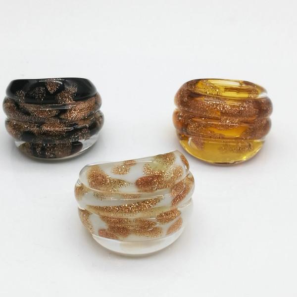 Free Shipping Wholesale Hot 9Pcs 17-19mm Dots Gold Sand Lampwork Glass Murano Rings, Fashion Murano Rings