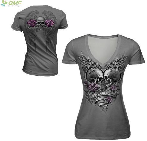 Grey Skull Lethal Angel Eternal Love Running T-shirts V-Neck Short Sleeve Tees Sexy Women Harajuku Sports Pullover Tshirt Tops
