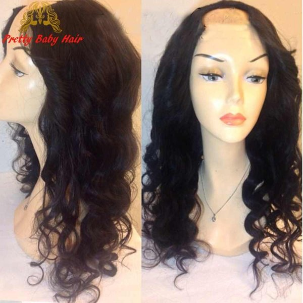 """Lace U Part Wigs Brazilian Virgin Human Hair Upart Wig Loose Deep Wave with Lace on the Middle 2""""X4"""" U Opening Wigs"""