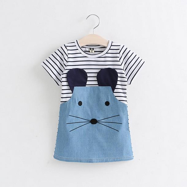 2017 Baby Girls Cotton Stripe Dress Cute Little Mouse Pattern Spring Summer Baby Clothes Daughter Gift Children's day Free Shipping