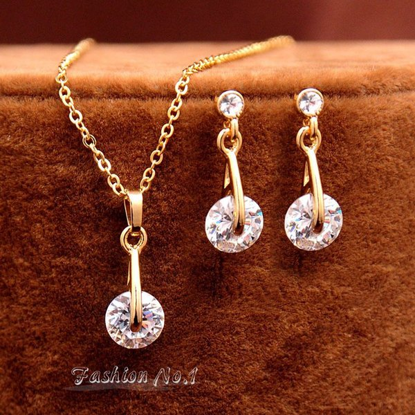 Free Shipping Fashion Crystal Water Drop Pendant Necklace Earrings For Women Accessories 18K Gold Plated CZ Diamond Jewelry Sets