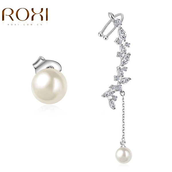 ROXI Brand Fashion Women Dangle Earrings White Gold Plated Zircon Irregular Lady Jewelry Wedding Party Female Drop Ear Earrings