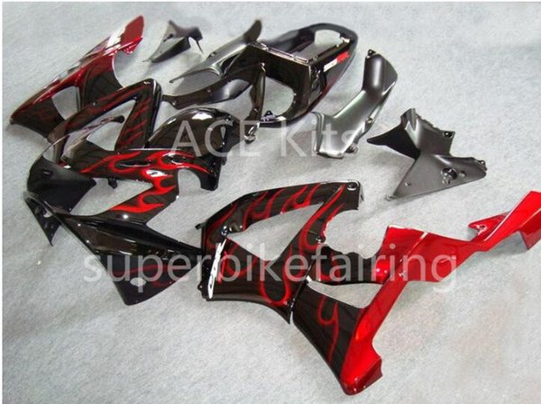 3 free gifts Motorcycle Fairing kit For HONDA CBR900RR 00 01 CBR 900RR 929 2000 2001 ABS Fairings set Black Red flame AF6