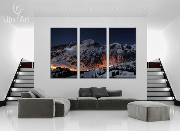 Unique 3 PCS Wall Decor Painting the Snow Mountain Landscape Art Print Decorative Digital Picture Canvas Printing For Living room