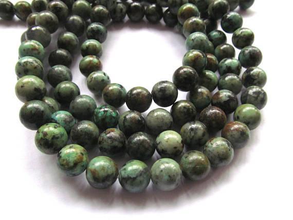 4-12mm voller Strang afrikanischen Türkis Edelstein grün braun Runde Ball Türkis Perlen lose Perlen