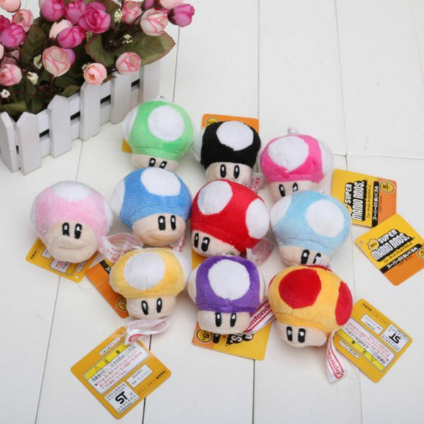 "Mario mushroom Plush toys Pendant 7cm 3"" Mario Bros Stuffed Animals Mixed 10 colors With Key Chain"