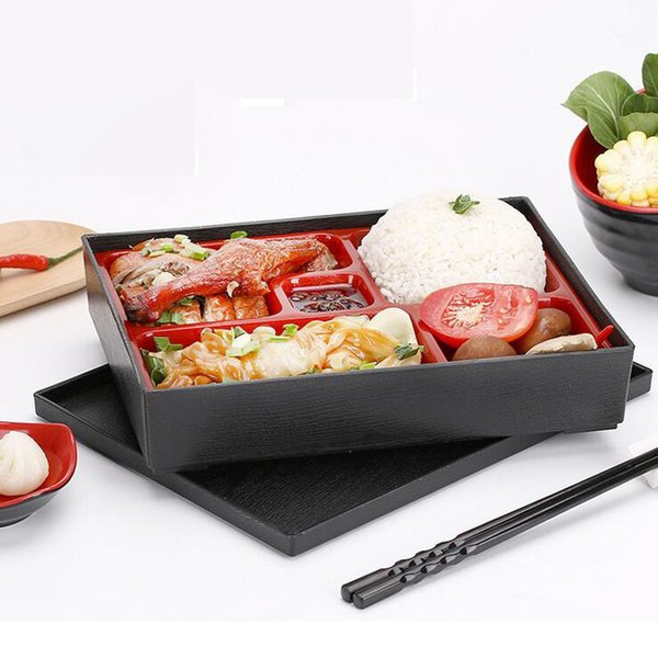 27*21*5cm Japanese Style Sushi Box Plastic Lunch Sub Grid Rectangular Fast Food Business Packages Box Free Shipping ZA4310