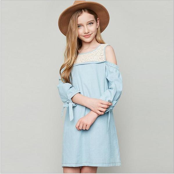 Compre 2017 Big Baby Girls Denim Lace Dresses Teenager Fashion Off Hombro Vestido Junior Spring Casual Dress Ropa Para Niños A 8298 Del
