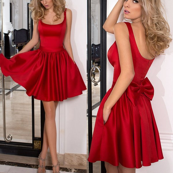 Dark Red Satin Short Prom Dresses Square Neck Shoulder Straps Aline Bow Backless Party Dresses Simple Evening Gowns Fast Shipping