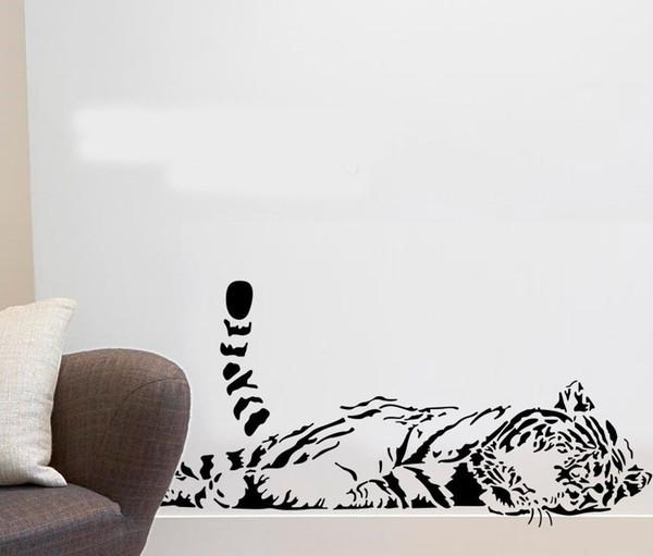 Animaux stickers muraux décoration mignon tigre canapé verre cabnet autocollants maison decal deco a0208 100 * 40cm