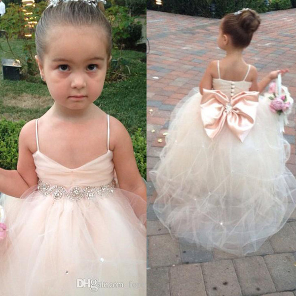 best selling Pageant Dresses For Girls Spaghetti Sleeveless Flower Girl Dresses White Ivory Champagne Kids Ball Gowns Wedding Dress Sash Beading Belt
