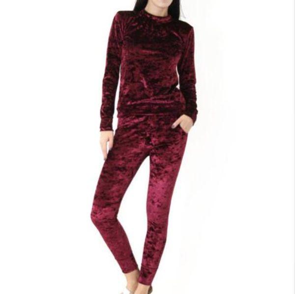 2017 nuevas mujeres de manga larga suave color sólido delgado traje de terciopelo conjunto sudadera pantalón chándal desgaste traje deportivo conjunto de ropa