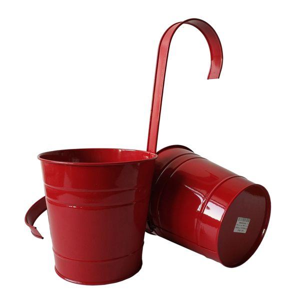 D15*H14.5CM red Garden Balcony hanging planter Big size Metal Hanging Bucket Flower pot with KD hook nursey pots