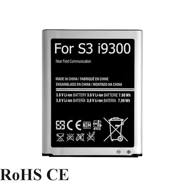 2100mAh Cell Phone Lithium Polymer Replacement S3 Battery EB-L1G6LLU for Samsung Galaxy S3 SIII i9300 i9308 i9301 + Track Code