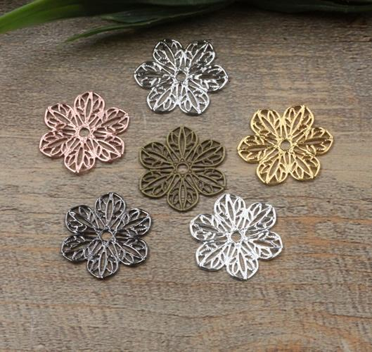 07555 22mm antique bronze/silver/rose gold/gun black filigree flower charms for jewelry making, alloy vintage metal necklace cross pendants
