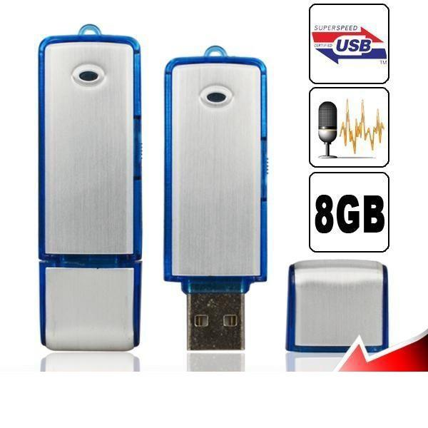 Mini Disco USB Grabadora de Voz de Audio 4 / 8GB Unidad Flash USB Grabadora Grabadora de Voz Digital Dictáfono Recargable Azul Negro