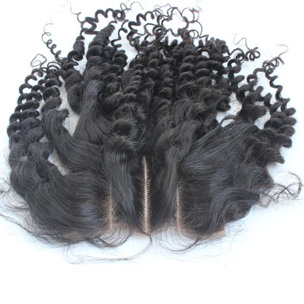 Lace closure 4x4 Size three part kinky curly human hair closure with baby hair natural hairline bleached knots with fast shipping