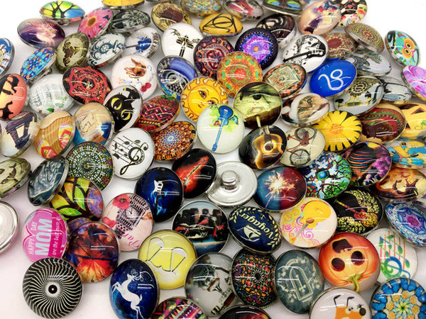 best selling Newest 50pcs Lots Mixed Styles Glass Snap Button 18MM Diy Interchangeable Ginger Snap Jewelry Noosa Chunk Charm Button Fit Snap Bracelet etc
