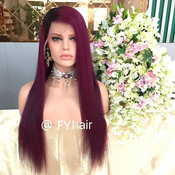 FY 130 Density Ombre Purple Human Hair Full Lace Wigs With Baby Hair Remi Lace Front Wigs