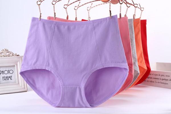 5XL Size Pure Color Panties Large Size 95% Cotton Briefs Women High Waist Underwear XL Size Undies X-Large Hiphuggers for Female