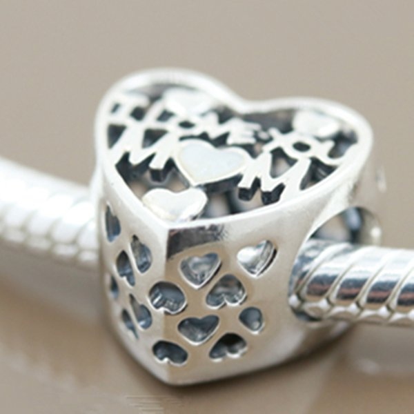 New 925 Sterling Silver Love for Mother Charm Bead Fit European Pandora Jewelry Bracelets Necklaces & Pendant