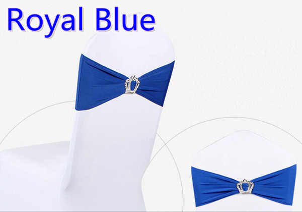 Royal blue colour Crown buckle lycra sash for wedding chairs decoration spandex band stretch bow tie lycra ribbon belt on sale