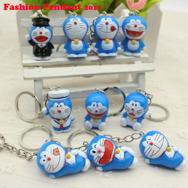 Hot Sale New 2017 Novelty Toys Cartoon Anime Doraemon Figures Keychains Doraemon Toys mix keyring for men/women