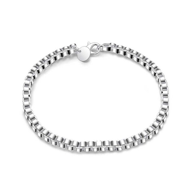 New Simple Design Silver Plated Brass/Copper Metal Fancy Box Chain Bracelet for Girls Free Shipping
