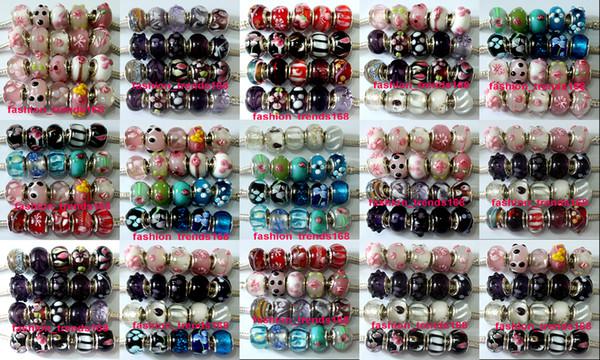 best selling 200 Pcs Mixed 925 Sterling Silver Handmade Murano Lampwork Glass Charm Beads For Pandora European Jewelry Bracelet+ 2 Leather bracelet gift