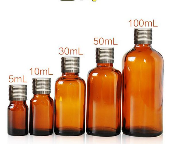 5ml 10ml 30ml 50ml 100ml Brown Essential Oil Bottle Empty Amber Glass Bottle with Silver Lid and Stopper