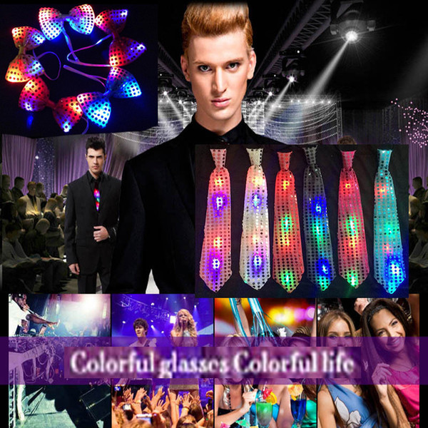 top popular Adult children's sequins LED tie lighting tie tie shiny party gift Christmas Halloween club bar stage props free DHL 2020