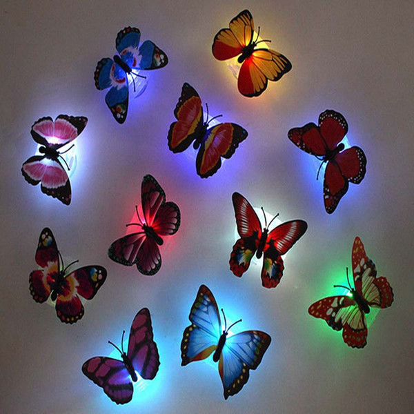 best selling Decoration Creative Random Color colorful luminous led butterfly night light glowing dragonfly Baby Kids Room Wall Light Lamp free shipping