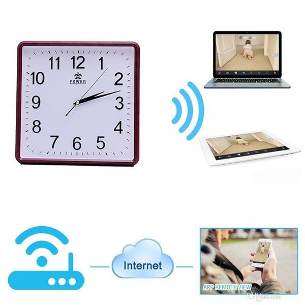 WIFI P2P Uhr Kamera Home-Office-Security-Netzwerk-Kamera Wireless Mini-IP-Kamera Square Wall Clock DVR Fernüberwachung Nanny Cam