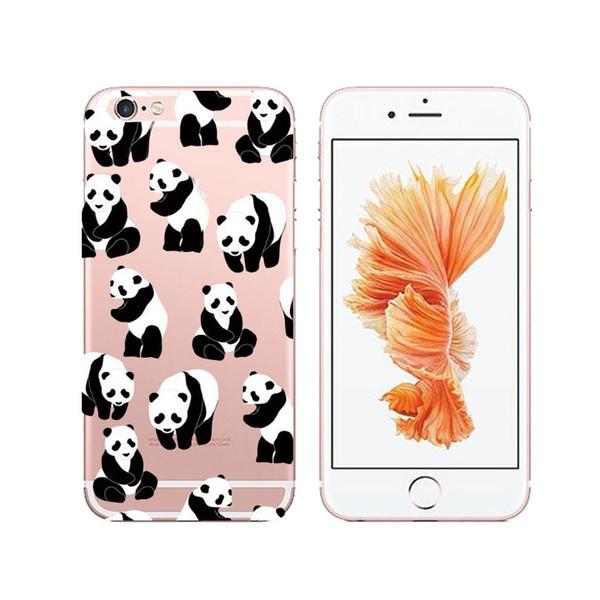Drôle de conception Super mignon Panda Cartoon Tpu Couverture souple Kawaii Case pour Apple Iphone X XS 8 6 7 6S Plus