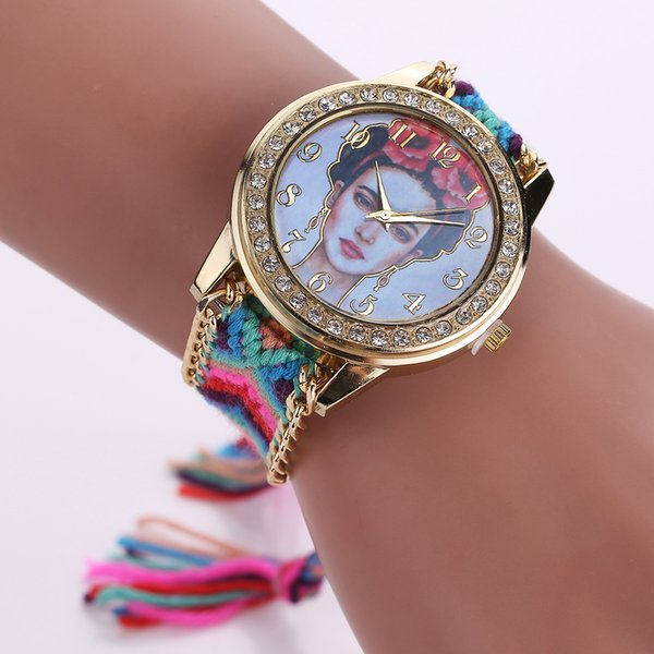 16 Styles 14Colors Luxury Mexico Artist Frida kahlo Watch Fashion Hand-made Braided Quartz Wristwatch Women Bracelet Watches Free Shipping