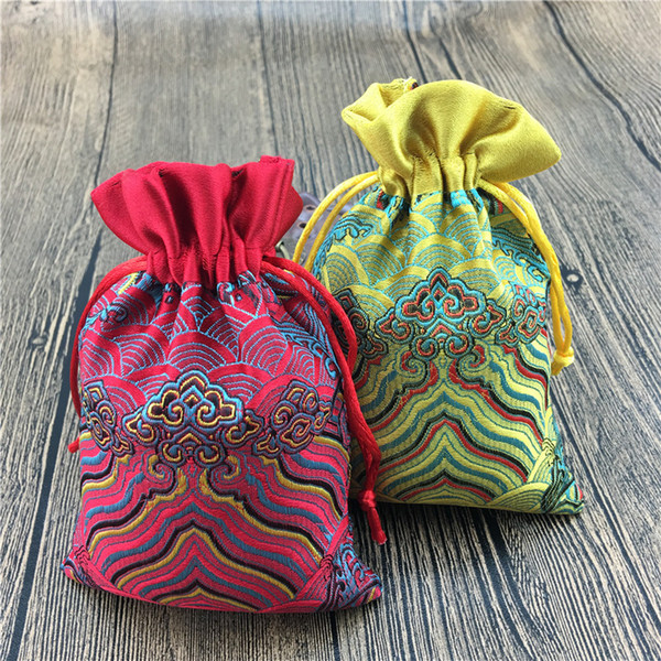 Patchwork Wavy Small Cloth Bags Drawstring Silk Brocade Jewelry Packaging Pouch Empty Tea Candy Favor Bag Trinket Coin Pocket 10x14 cm