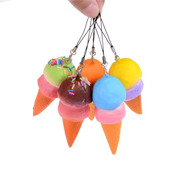 Wholesale- 8cm Slow Rising Cell Phone Straps Bread Cute Soft Jumbo Ice Cream Cone Squishy Antistress Scented Key Pendant Charms Kids Toys