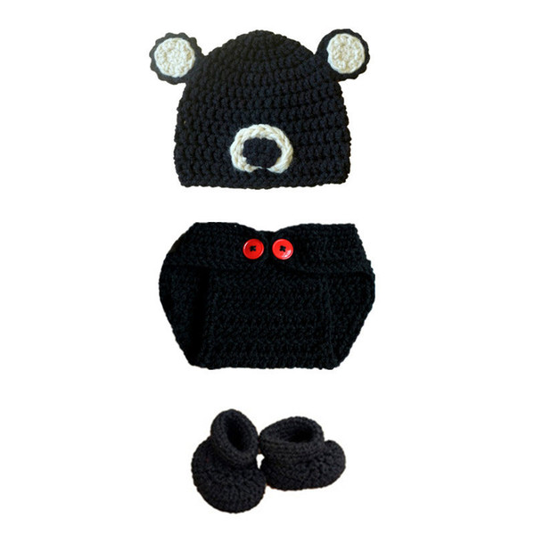 Newborn Teddy Bear Costume,Handmade Crochet Baby Boy Girl Animal Bear Hat Diaper Cover Booties Set,Infant Halloween Costume Photo Prop