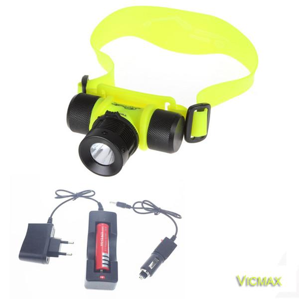 Lampe frontale de plongée 2000LM T6 étanche phare led éclairage LED lampe frontale lampe de poche lumière torche + batterie + AC / chargeur