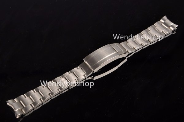20 21mm Solid Curved End Stainless Steel Screw Links Wrist Watch Band Bracelet Strap Glide Flip Lock Deployment Clasp Buckle