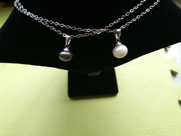 """925 Sterling Silver Cultured White Freshwater Pearl Cage Pendants Necklace Chain Length 18 """"Extension Chain 2"""" (White And Black)"""