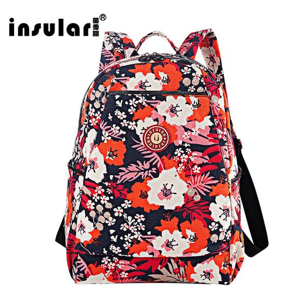 best selling Insular Nylon Floral Printing Women Backpack Fashion Waterproof Women Knapsack School Bag