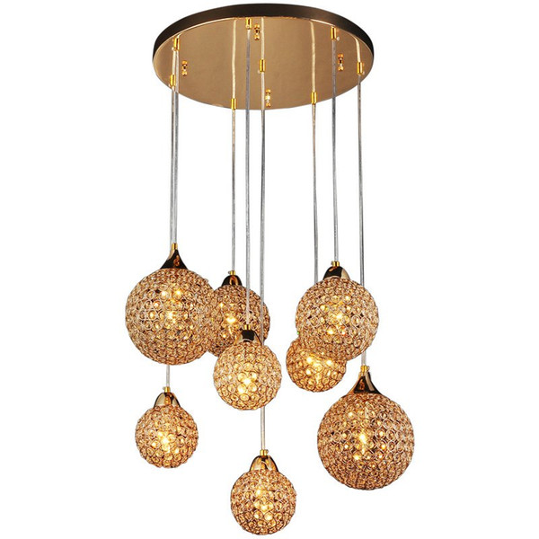 """Luxury 22"""" Round Plate Golden Crystal Parlor Ceiling Pendant Lights 8 Pieces Crystal Balls Hanging Living Room Meeting Hall Pendant Lighting"""