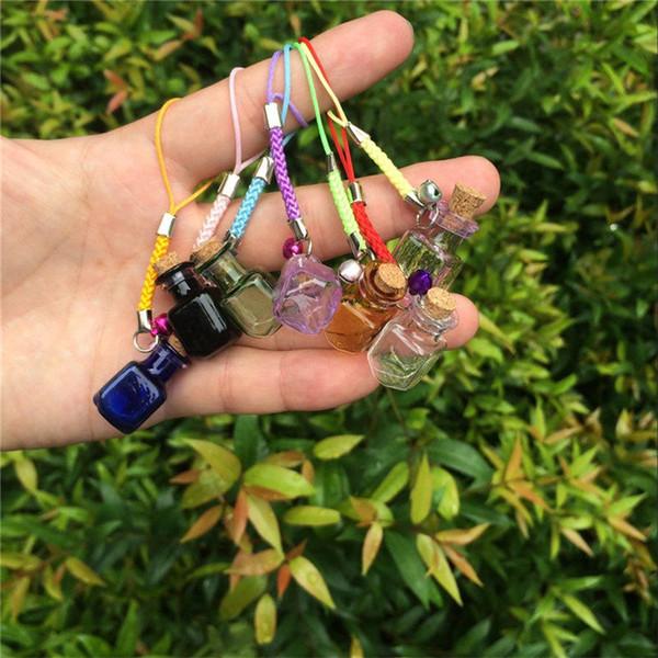 Glass Bottles Charms Rectangle Shape Mini Bracelets Bottles Key Chains Jars Glass Charms Bottles Favor Crafts Mixed Color 70pcs