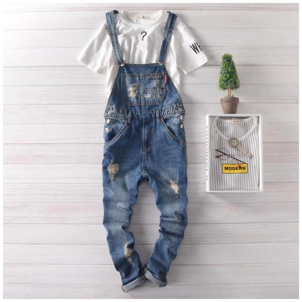 Wholesale-2016 Mens Suspender Pants Plus Size Bib Overalls Jeans For Men Fashion Slim Fit Denim Overalls Men Blue Salopette Homme