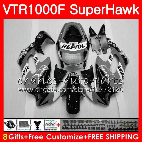 Кузов для HONDA SuperHawk Vtr1000f Repsol серый 1997 1998 1999 2000 2002 2003 2004 2005 91NO75 VTR 1000F 97 98 99 00 01 02 03 04 05 обтекатель