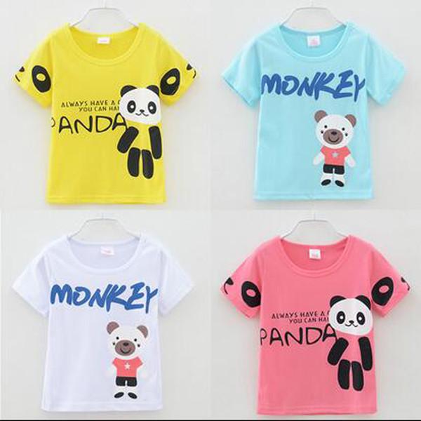 Baby T-Shirt Jungen Mädchen Panda Affe Cartoon Kleidung T-shirts Kinder Kurzarm Tops Kinder 4 Farben Kleidung Baby Kleidung Mit Hoher Qualität