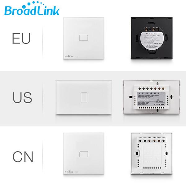 All'ingrosso-UE Stati Uniti Regno Unito Broadlink originale 1 banda TC2, automazione domestica intelligente, interruttore di tocco a distanza interruttore delle lampade di tocco, interruttore a muro di cristallo