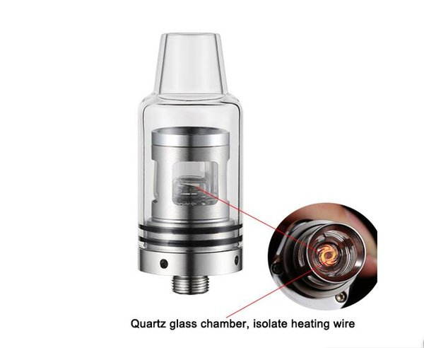 coilless wax vaporizer 510 sub ohm wax atomizer tank glass quartz chamber heating attachment oil rig electronic smoking tank spark